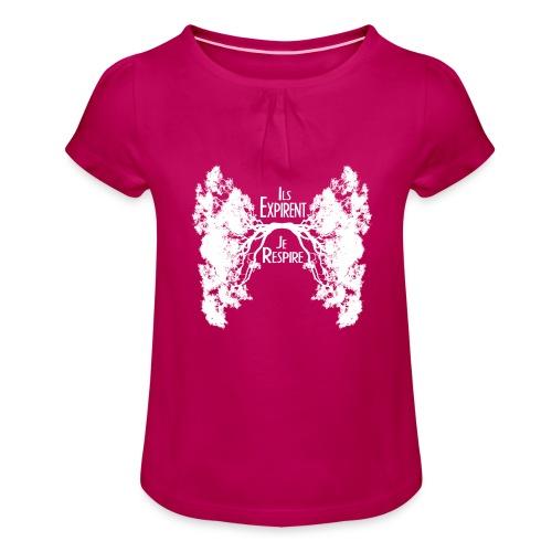 Oxygène blanc - T-shirt à fronces au col Fille