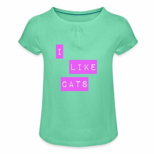 I like cats - Girl's T-Shirt with Ruffles