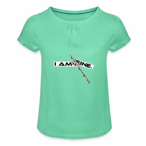 I AM FINE Design mit Schnitt, Depression, Cut - Mädchen-T-Shirt mit Raffungen