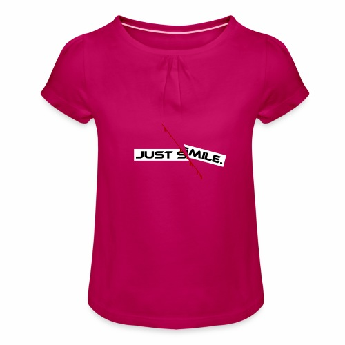 JUST SMILE Design mit blutigem Schnitt, Depression - Mädchen-T-Shirt mit Raffungen