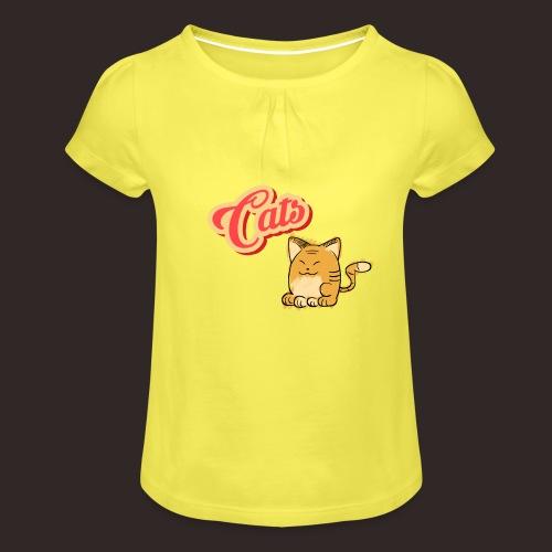 Katze   Katzen süß Schriftzug - Mädchen-T-Shirt mit Raffungen