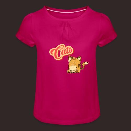 Katze | Katzen süß Schriftzug - Mädchen-T-Shirt mit Raffungen