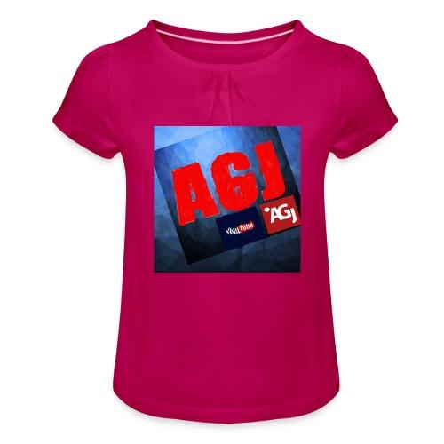 AGJ Nieuw logo design - Meisjes-T-shirt met plooien
