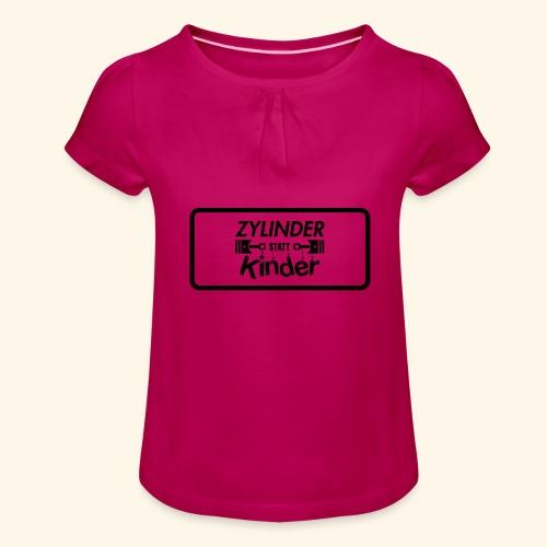 Zylinder Statt Kinder - Mädchen-T-Shirt mit Raffungen