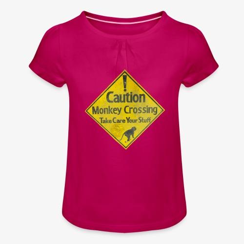 Caution Monkey Crossing - Mädchen-T-Shirt mit Raffungen