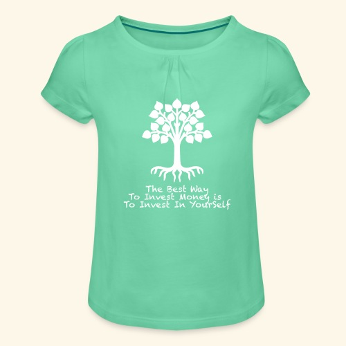 Printed T-Shirt Tree Best Way Invest Money - Maglietta da ragazza con arricciatura