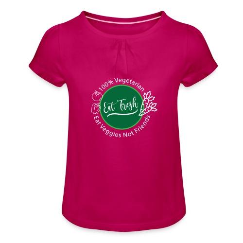 Gezond eten vegetarische t-shirt - Meisjes-T-shirt met plooien