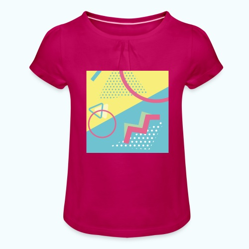 Pastel turquoise geometry - Girl's T-Shirt with Ruffles