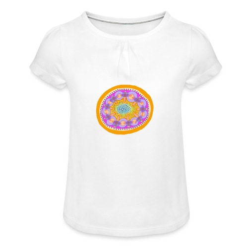 Mandala Pizza - Girl's T-Shirt with Ruffles