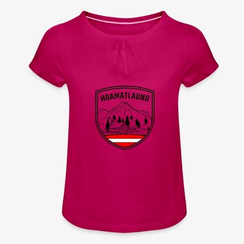 hoamatlaund logo - Mädchen-T-Shirt mit Raffungen