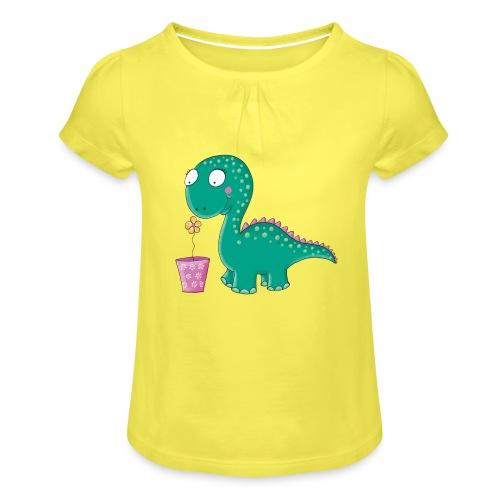 Kleiner Dinosaurier mit Blumentopf - Mädchen-T-Shirt mit Raffungen