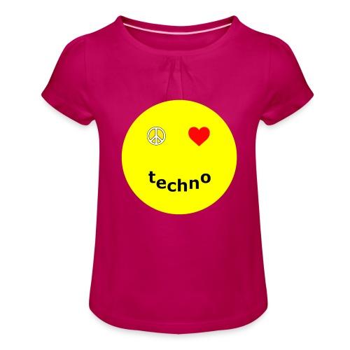 camiseta paz amor techno - Camiseta para niña con drapeado