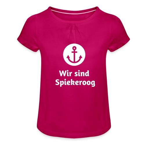 Wir sind Spiekeroog Logo weiss - Mädchen-T-Shirt mit Raffungen