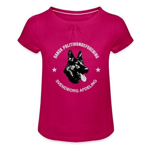 Svendborg PH hvid skrift - Pige T-shirt med flæser