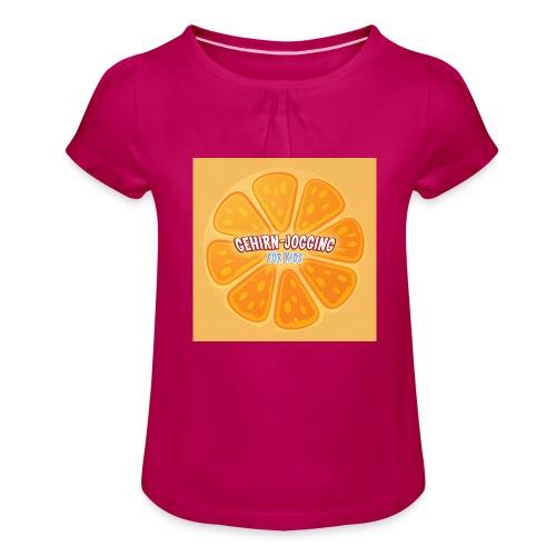 orangetextur - Mädchen-T-Shirt mit Raffungen
