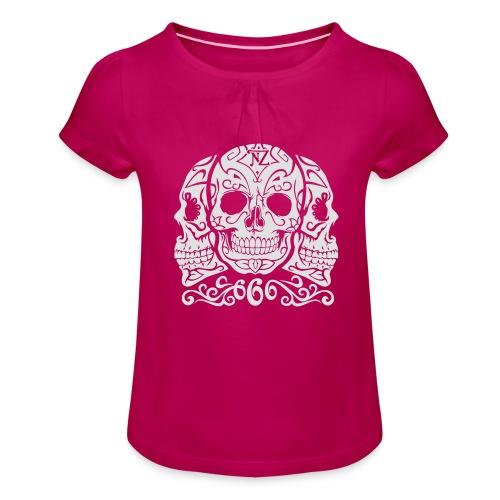 Skull Dia de los muertos - T-shirt à fronces au col Fille