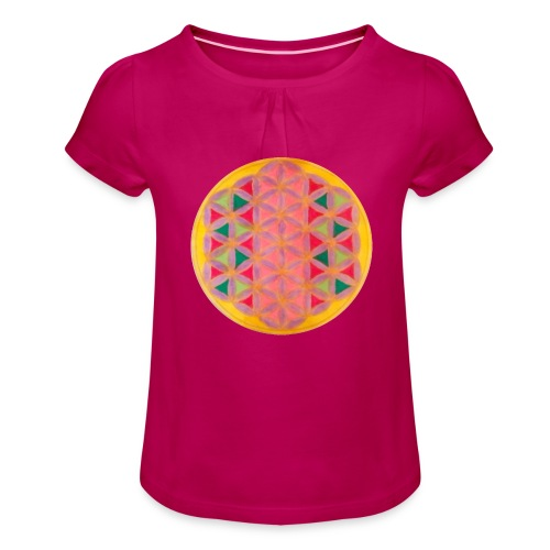 Blume des Lebens - Mädchen-T-Shirt mit Raffungen