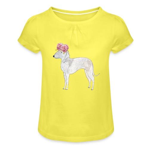 bedlington terrier with roses - Pige T-shirt med flæser