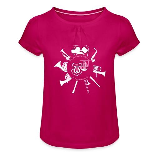 Instrumentenkreis_4000_ws - Mädchen-T-Shirt mit Raffungen