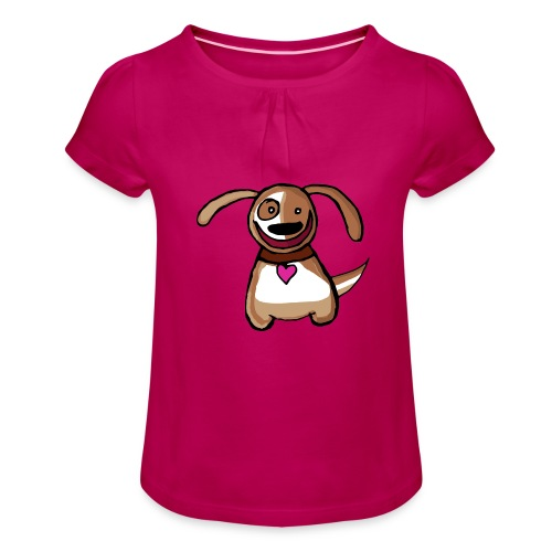Titou le chien - T-shirt à fronces au col Fille