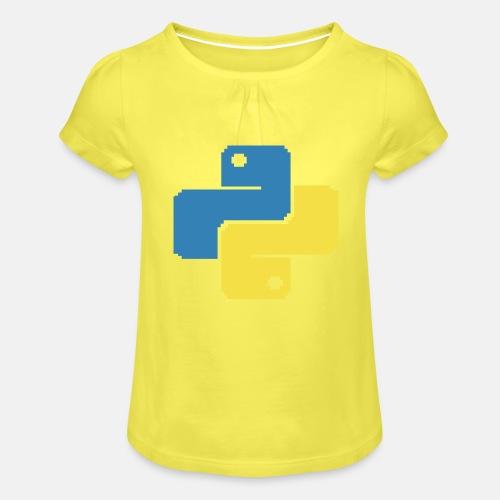 Python Pixelart - Mädchen-T-Shirt mit Raffungen