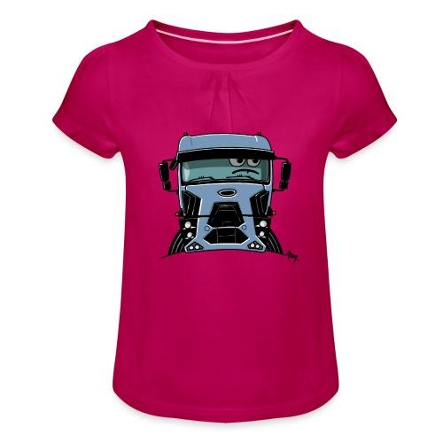 0812 F truck blue - Meisjes-T-shirt met plooien