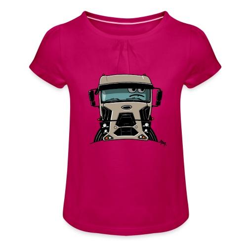 0812 F truck beige - Meisjes-T-shirt met plooien
