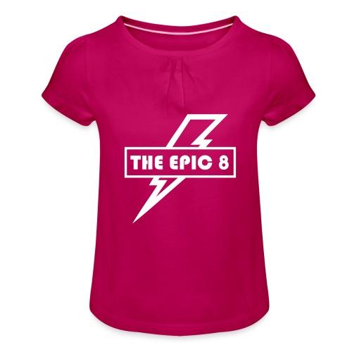 The Epic 8 - Valkoinen logo, iso - Tyttöjen t-paita, jossa rypytyksiä
