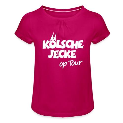 Kölsche Jecke Kölner Dom op Tour Köln Design - Mädchen-T-Shirt mit Raffungen