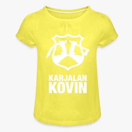 karjalan kovin pysty - Tyttöjen t-paita, jossa rypytyksiä