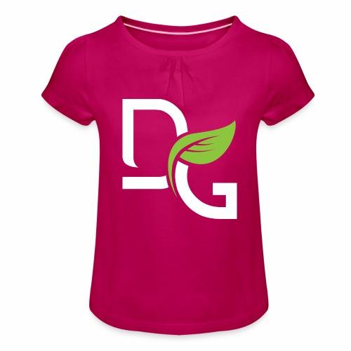 DrGreen Logo Symbol weiss grün - Mädchen-T-Shirt mit Raffungen