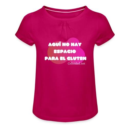 Aquí no hay espacio para el gluten - Camiseta para niña con drapeado