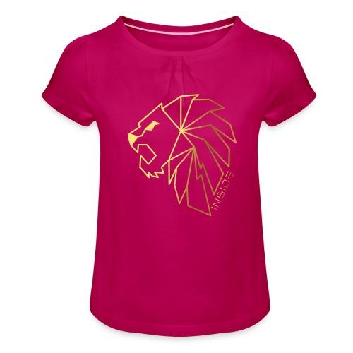 Löwe, Lion Inside - Mädchen-T-Shirt mit Raffungen