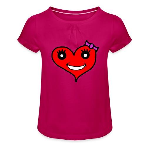 Herz Smiley Schlaufe - Mädchen-T-Shirt mit Raffungen