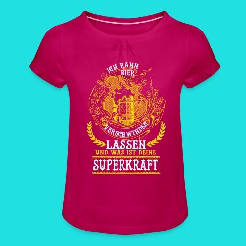 Bier Superkraft - Mädchen-T-Shirt mit Raffungen