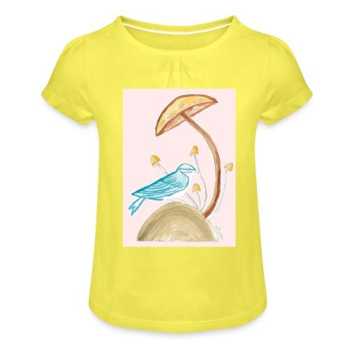 fungo con uccello - Maglietta da ragazza con arricciatura
