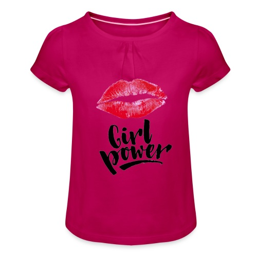 Girl Power - T-shirt à fronces au col Fille