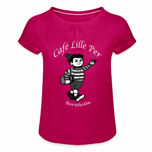 Cafe LillePer Logo BW - Pige T-shirt med flæser
