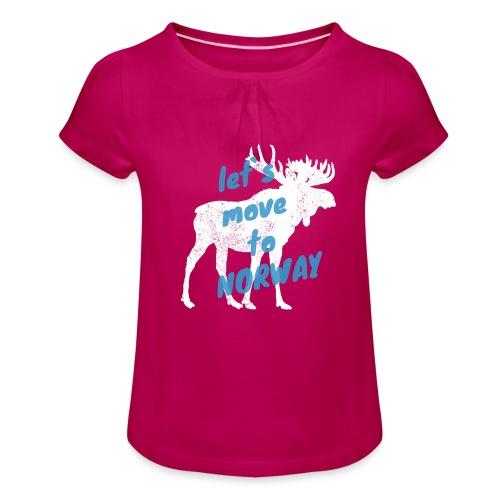 Norwegen Elch Auswandern Umzug Geschenk - Mädchen-T-Shirt mit Raffungen