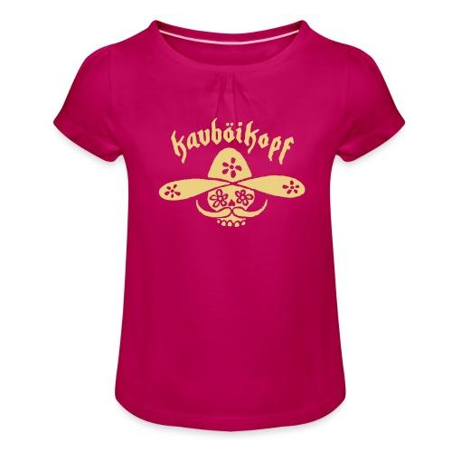 Kauboikopf - Mädchen-T-Shirt mit Raffungen