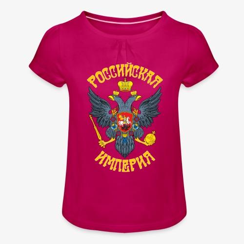 Wappen des Russischen Imperiums Russland - Mädchen-T-Shirt mit Raffungen