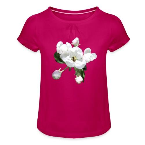 Omenankukka ja kukkakärpänen - Tyttöjen t-paita, jossa rypytyksiä