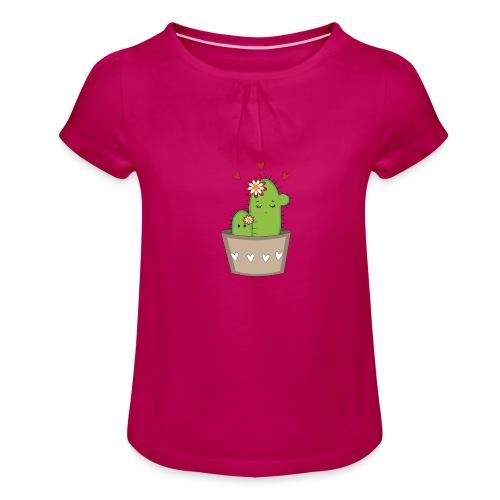 Kaktus Mama mit Kaktus Baby - Mädchen-T-Shirt mit Raffungen