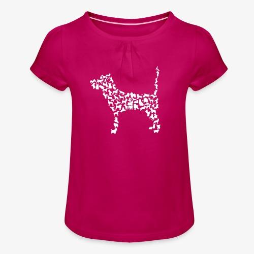 Hunde Kollage - Mädchen-T-Shirt mit Raffungen