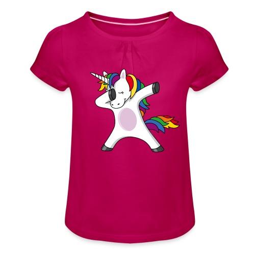 Dabbing Einhorn Dab Regenbogen schwanger Baby - Mädchen-T-Shirt mit Raffungen