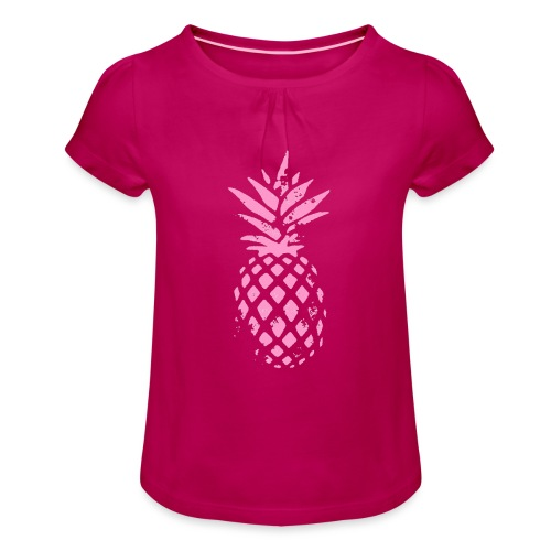 ananas rose - T-shirt à fronces au col Fille