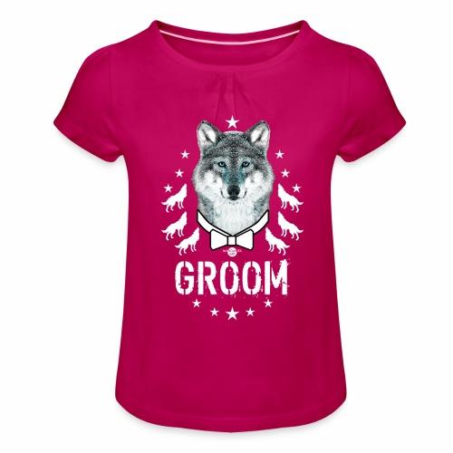 161 Wolf JGA GROOM Wolfpack Sterne - Mädchen-T-Shirt mit Raffungen