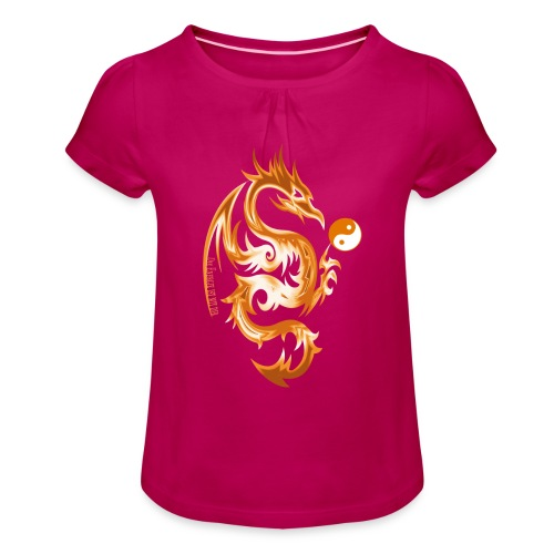 Der Drache spielt mit der Energie des Lebens. - Mädchen-T-Shirt mit Raffungen