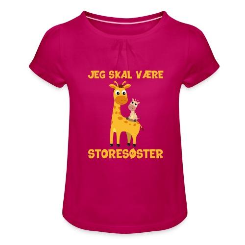 Jeg skal være storesøster - giraf giraffer - Pige T-shirt med flæser