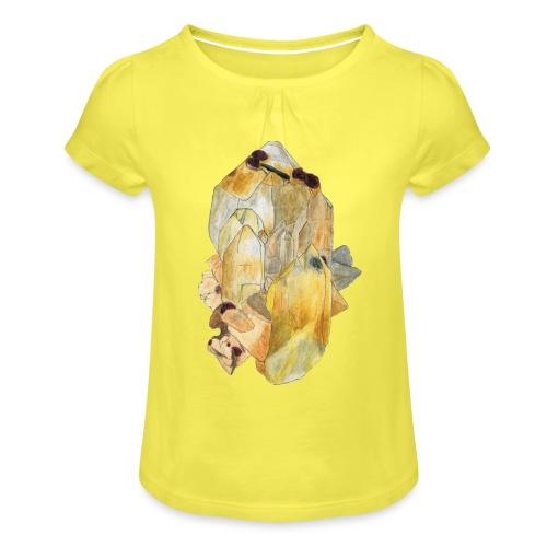 Bergkristall mit Granat - Mädchen-T-Shirt mit Raffungen